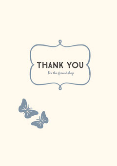 White and Grey Thank You Card Friends