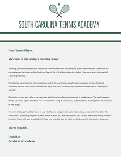 Green and Grey Professional Letter Tennis