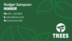 Green Leaves Business Card with Tree Logo Trees