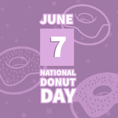Violet and White Donut Day Instagram Graphic Donut