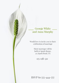 White and Green, Elegant, Delicate, Wedding Invitation Card  Wedding Congratulations