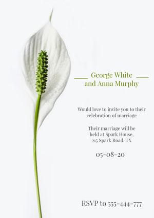 White and Green, Elegant, Delicate, Wedding Invitation Card  Invitation
