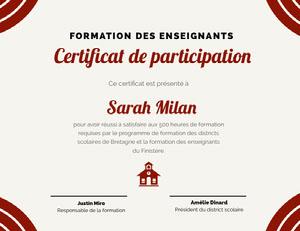 Certificat de participation Certificat de diplôme