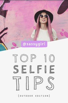 White Grey and Pink Top 10 Selfie Tips Pinterest Blogger