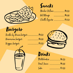 Black and Yellow Burger Joint Menu Instagram Square  Burger