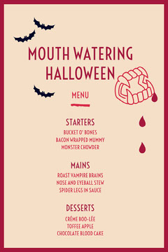 Beige and Red Vampire Fangs and Bats Halloween Party Menu Halloween Party Menu