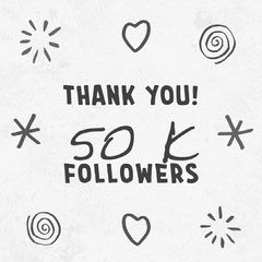 Black and White Doodles Follower Appreciation Instagram Square Thank You Poster