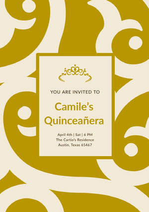 Gold Decorative Quinceanera Birthday Invitation Card Invitación de quinceañera