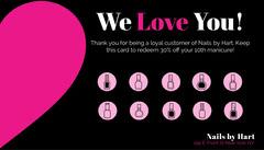 black and pink loyalty card Nail Salon