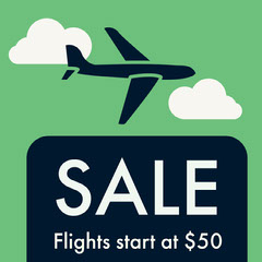 Green and Black Flights Sale Instagram Graphic Planes