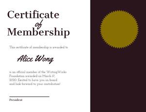 Certificate <BR>Membership