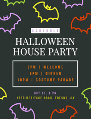 Black and Colorful Halloween Bat House Party Schedule Festa di Halloween