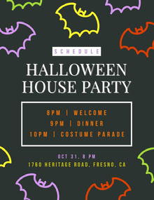 Halloween Bat House Party Schedule 行程表