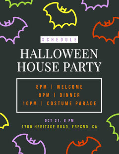 Halloween Bat House Party Schedule Halloween Party Schedule