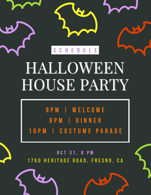 Black and Colorful Halloween Bat House Party Schedule Halloween Party