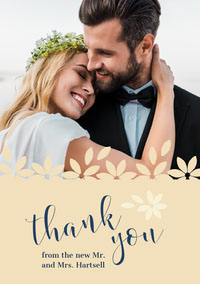 floral edge wedding thank you card mariage