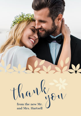 floral edge wedding thank you card Thank You Card