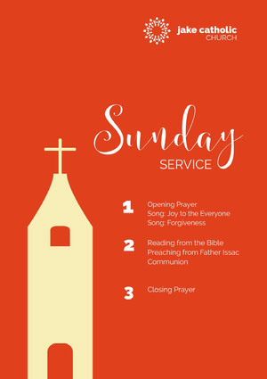 Red and White Sunday Service Flyer Aankondiging