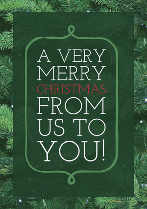 Green Merry Christmas Card with Christmas Tree Christmas Card