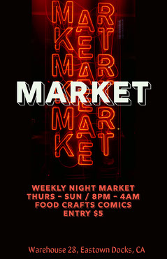 White Black and Red Neon Lights Night Market Poster Neon