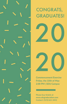 Green and Yellow Graduation Poster with Confetti School Posters
