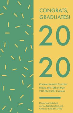 Green and Yellow Graduation Poster with Confetti Confetti