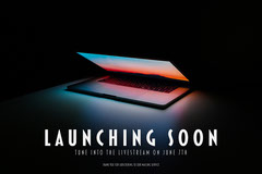 Black Background New Laptop Model Launch Live Stream Ad with Photo Launch