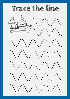 Blue Border Trace the Line Worksheet with Fishing Boat Boats