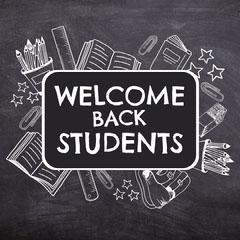Black & White Blackboard & Icons Instagram Square Welcome Poster