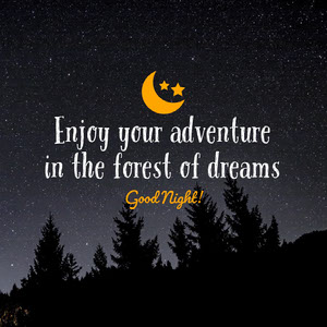 Orange Forest at Night Photo Good Night Instagram Square with Moon Icon Message de bonne nuit
