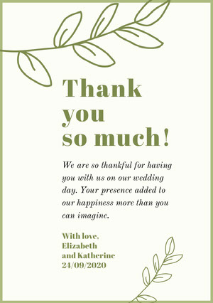 green floral lgbt wedding thank you card Thank You Card
