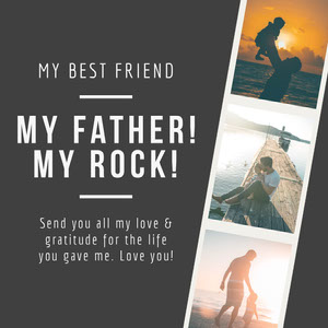 Black and White Father Collage Instagram Graphic Father's Day Messages