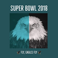 Turquoise and White Philadelphia Eagles Fan Super Bowl Square Instagram Social Media Post Graphic Super Bowl
