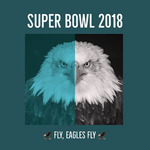 Turquoise and White Philadelphia Eagles Fan Super Bowl Square Instagram Social Media Post Graphic Super Bowl