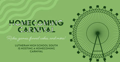 Green and Black Homecoming Carnival Event Ad Facebook Cover Carnival