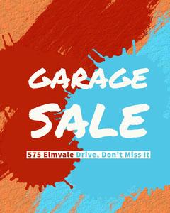 Orange White and Blue Garage Sale Social Post Garage Sale Flyer