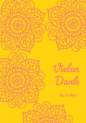 henna inspired wedding thank you cards Danksagungskarte