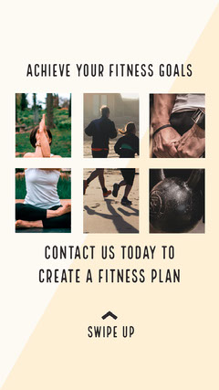 Fitness Plan Gym Instagram Story Ad with Photos of People Exercising Workout