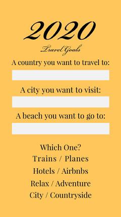 2020 travel goals igstory Adventure