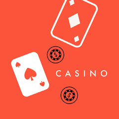 Orange and White Game Logo Casino