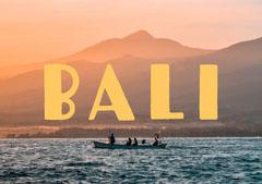 Yellow Sunset Photo Bali Indonesia Travel Postcard Mountains