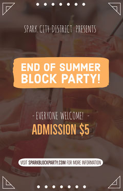 Orange End of Summer Party Flyer Block Party Flyer