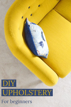 Yellow and Blue Diy Upholstery Social Post Decor
