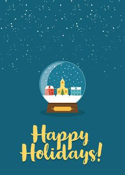 Blue Snow Globe Happy Holidays Card Portrait