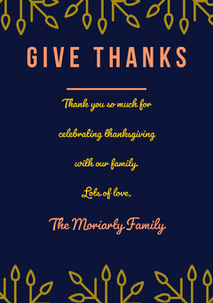 Thanksgiving Thank You Card Gold