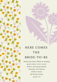HERE COMES <BR>THE <BR>BRIDE-TO-BE  Partecipazioni di matrimonio