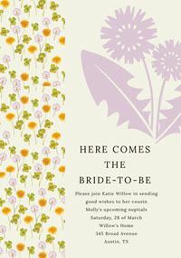 HERE COMES <BR>THE <BR>BRIDE-TO-BE  Bridal-shower-invitasjon