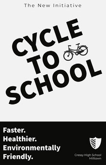 Black and White Cycle to School Poster School Posters