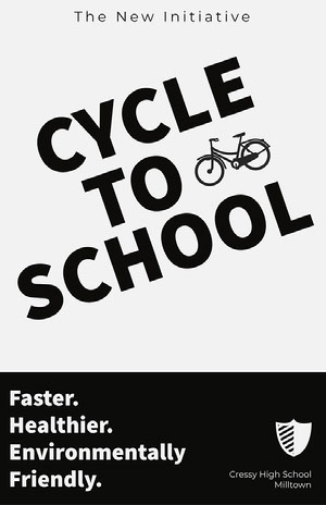 Black and White Cycle to School Poster póster escolar