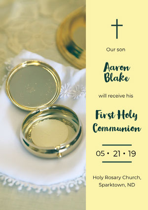 Light, Yellow First Holly Communion Announcement Card Communion Annoucements